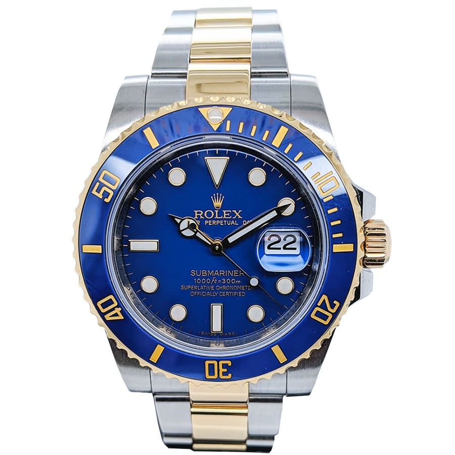 Pre-owned Rolex Oyster Perpetual Date Submariner Automatic Chronometer Blue ..