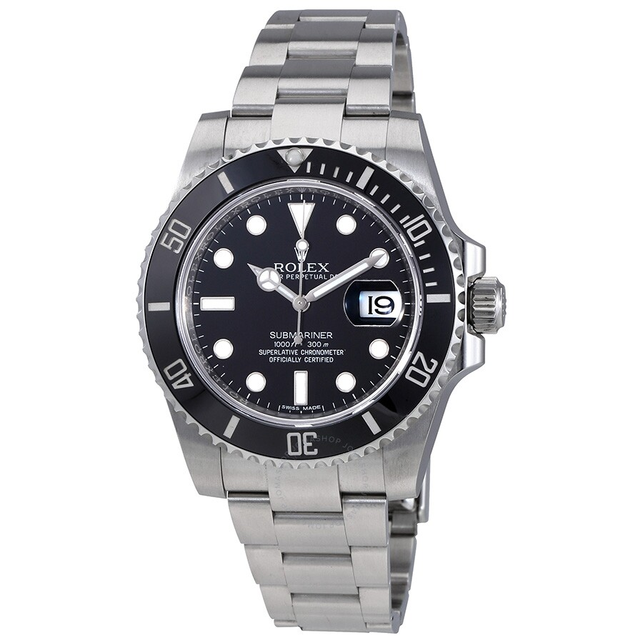 pre owned rolex oyster perpetual submariner black dial. Black Bedroom Furniture Sets. Home Design Ideas