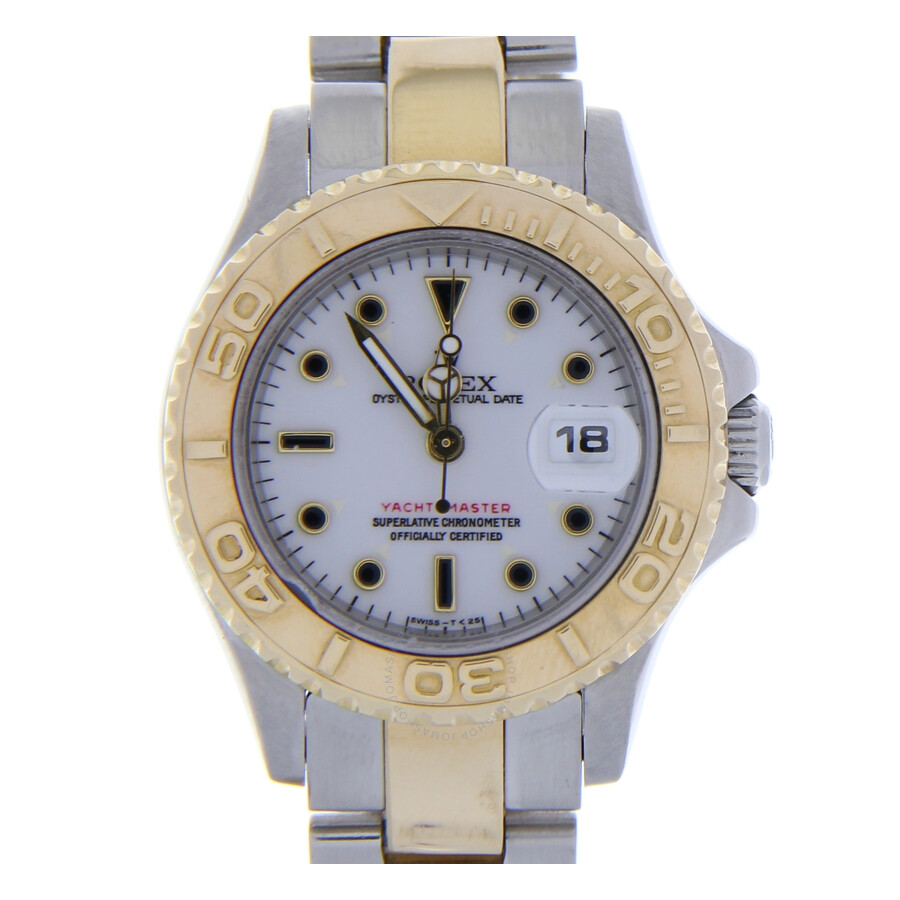 Pre-owned Rolex Yacht-Master Automatic Chronometer White Dial Ladies Watch 6..