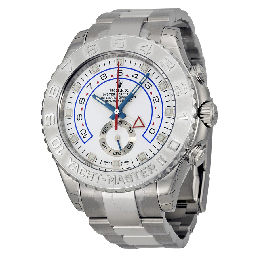 Pre-owned Rolex Yacht-Master II White Dial 18K White Gold Oyster Bracelet Au..