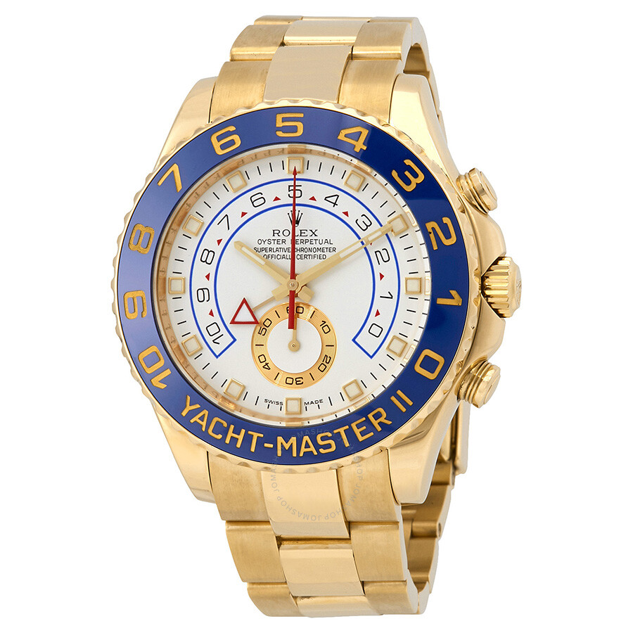 Pre-Owned Rolex Yacht-Master II White Dial 18K Yellow Gold Rolex Oyster Auto..
