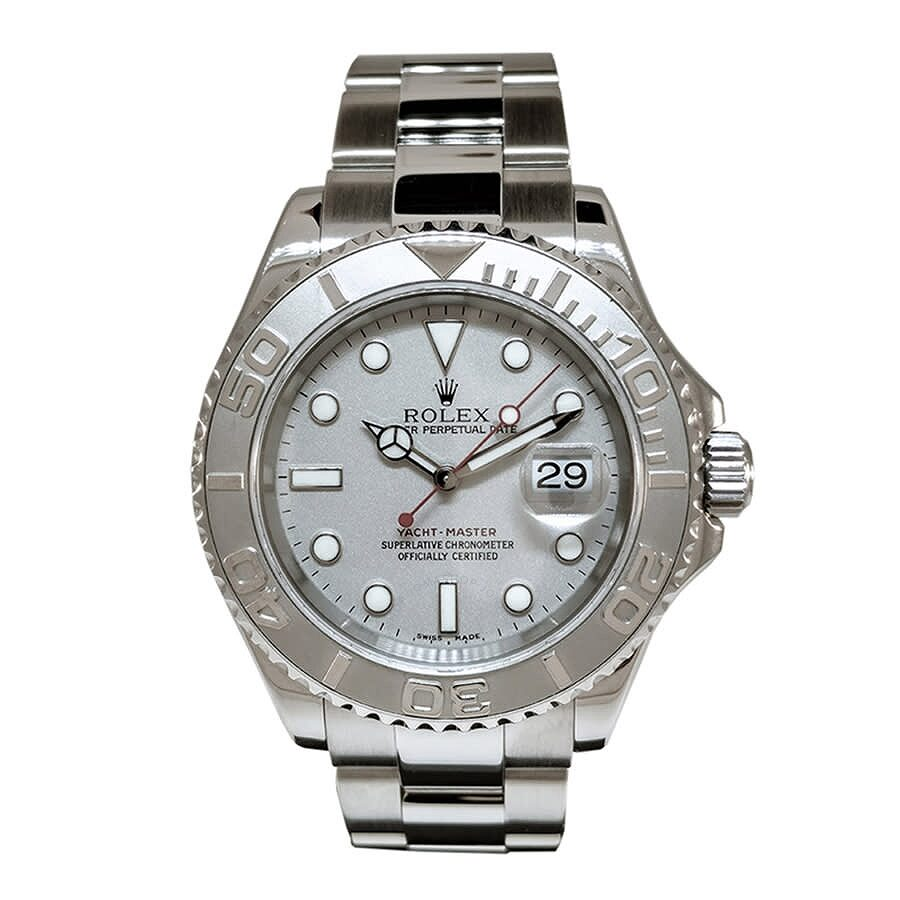 Pre-owned Rolex YachtMaster Automatic Chronometer Silver Dial Mens Watch R16..
