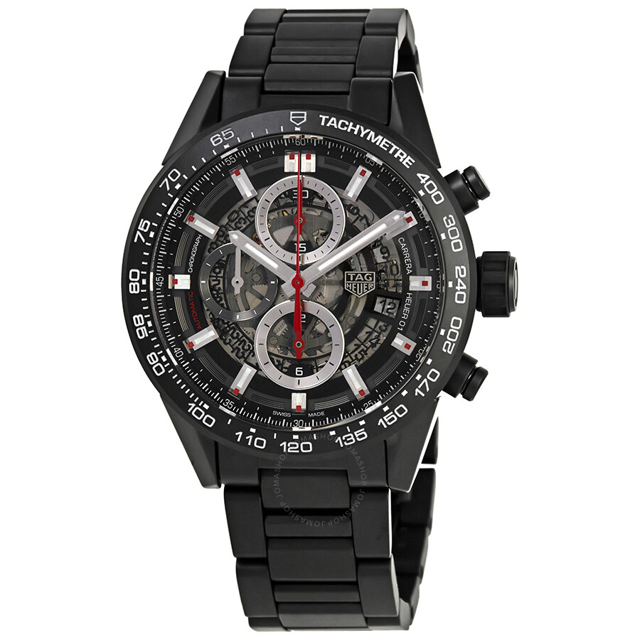 Pre-owned Tag Heuer Carrera Chronograph Automatic Black Dial Mens Watch CAR2..