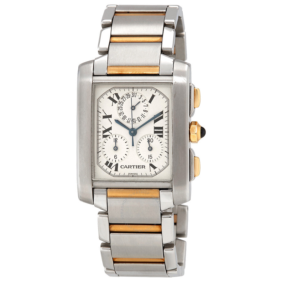 Pre-owned Cartier Tank Francaise Chronoflex White Dial Steel and 18k Yellow ..
