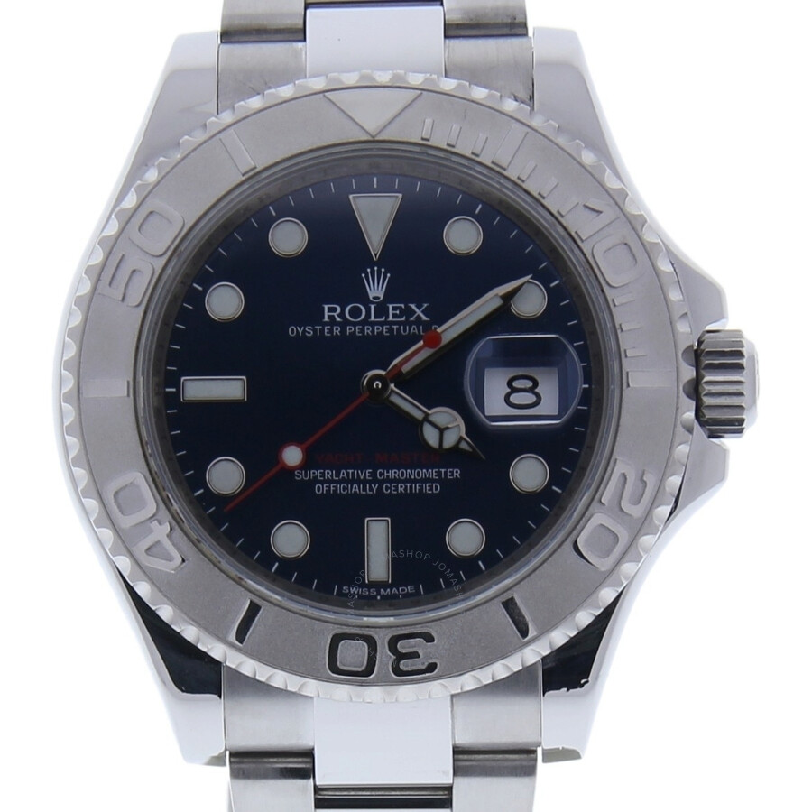 Pre-owned Rolex Yacht-Master Automatic Chronometer Blue Dial Mens Watch 1166..