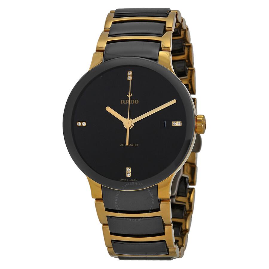 Rado centrix black dial gold plated and black ceramic men 39 s watch r30035712 centrix rado for Ceramic man watch