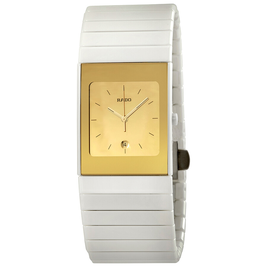 Rado Ceramica Gold Dial Ladies Watch R21709252