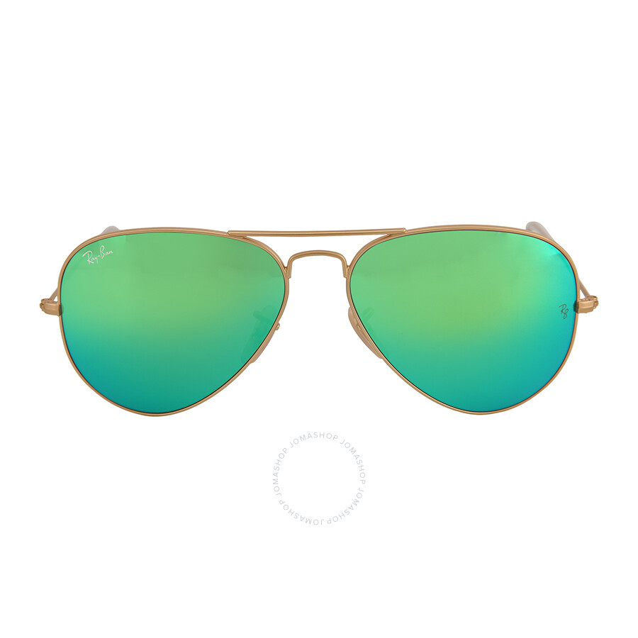 Ray Ban Aviator Arista Green With Mirrored Lenses 58 Mm