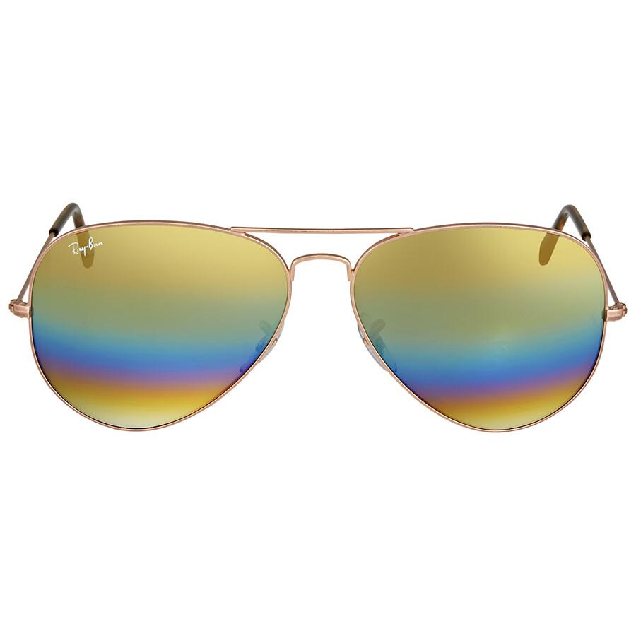df5a7667e485b Ray Ban Aviator Gold Rainbow Flash Mens Sunglasses RB3025 9020C4 62
