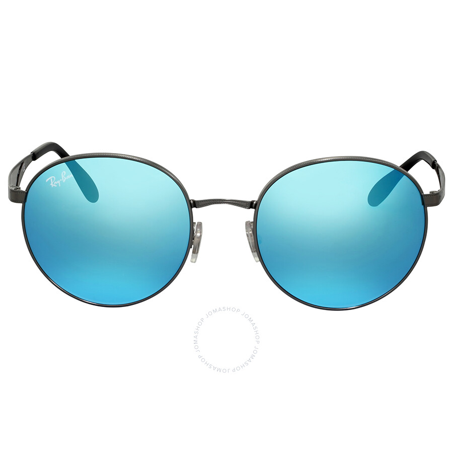Ray Ban Blue Mirror Round Metal Sungl