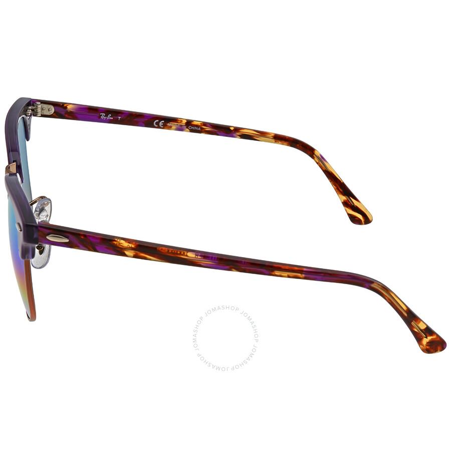 ... Ray Ban Clubmaster Mineral Green Rainbow Flash Men\u0027s Sunglasses RB3016  1221C3 49
