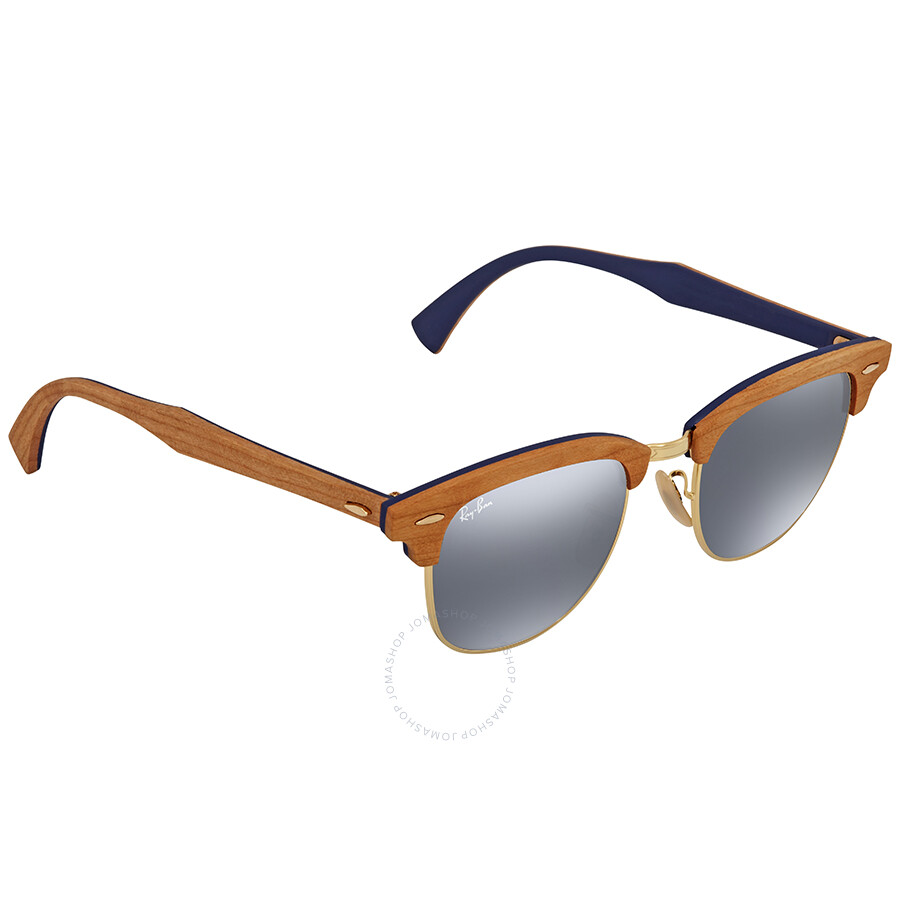 04e6daed9ba0f ... sweden ray ban clubmaster wood blue gray classic square sunglasses  rb3016m 1180r5 51 af226 f313f