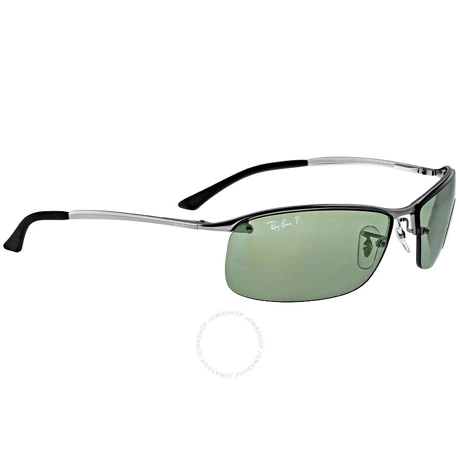 Ray-Ban Rectangle Semi-Rimless Polarized Sunglasses RB3183-004-9A-63 ...