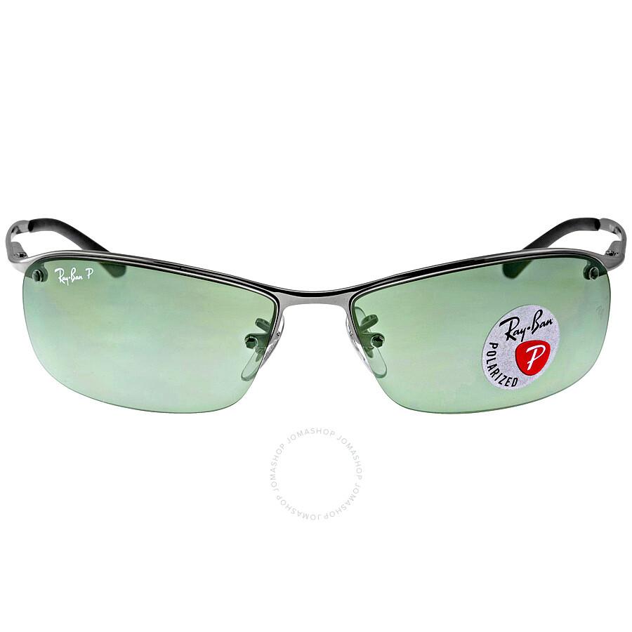 e184f3d7709 ... good ray ban rectangle semi rimless polarized sunglasses rb3183 004 9a  63 d870e 1ed85