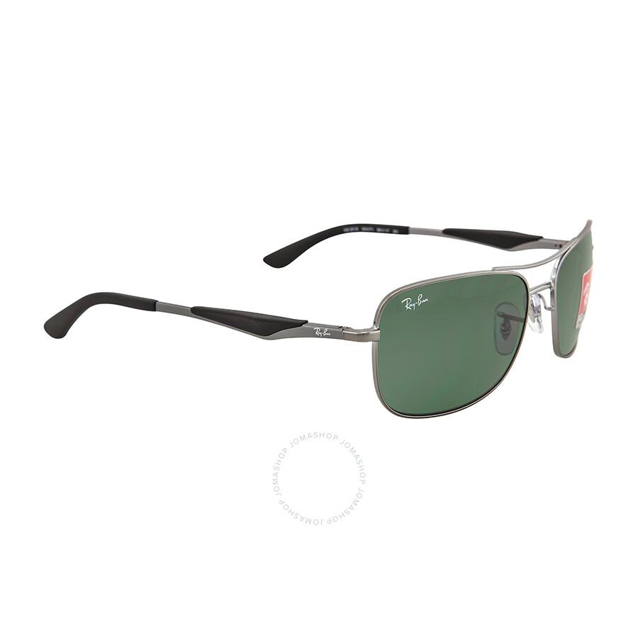 Ray Ban Square Gunmetal Frame Green Lenses Sunglasses RB3515-58-004 ...