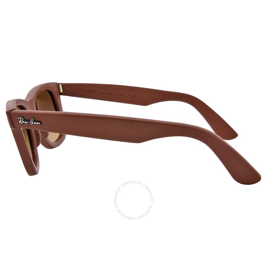 Ray Ban Wayfarer Leather Brown Gradient Brown Frame Sunglasses ...