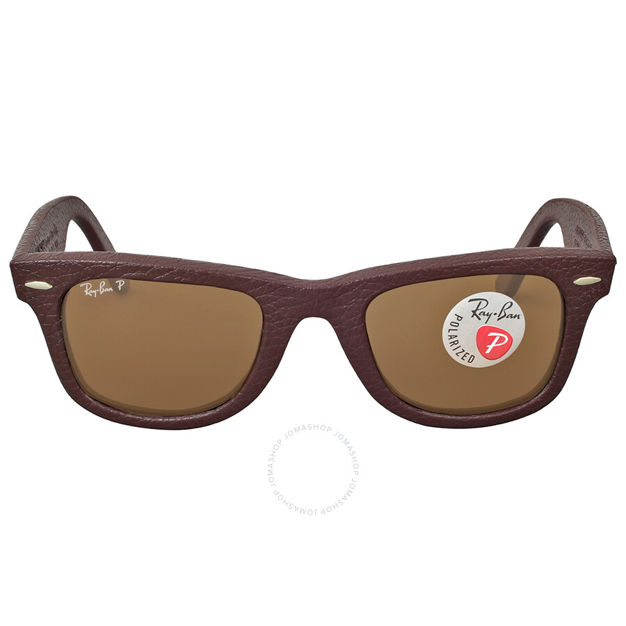 ray ban ray ban wayfarer polarized brown leather sunglasses