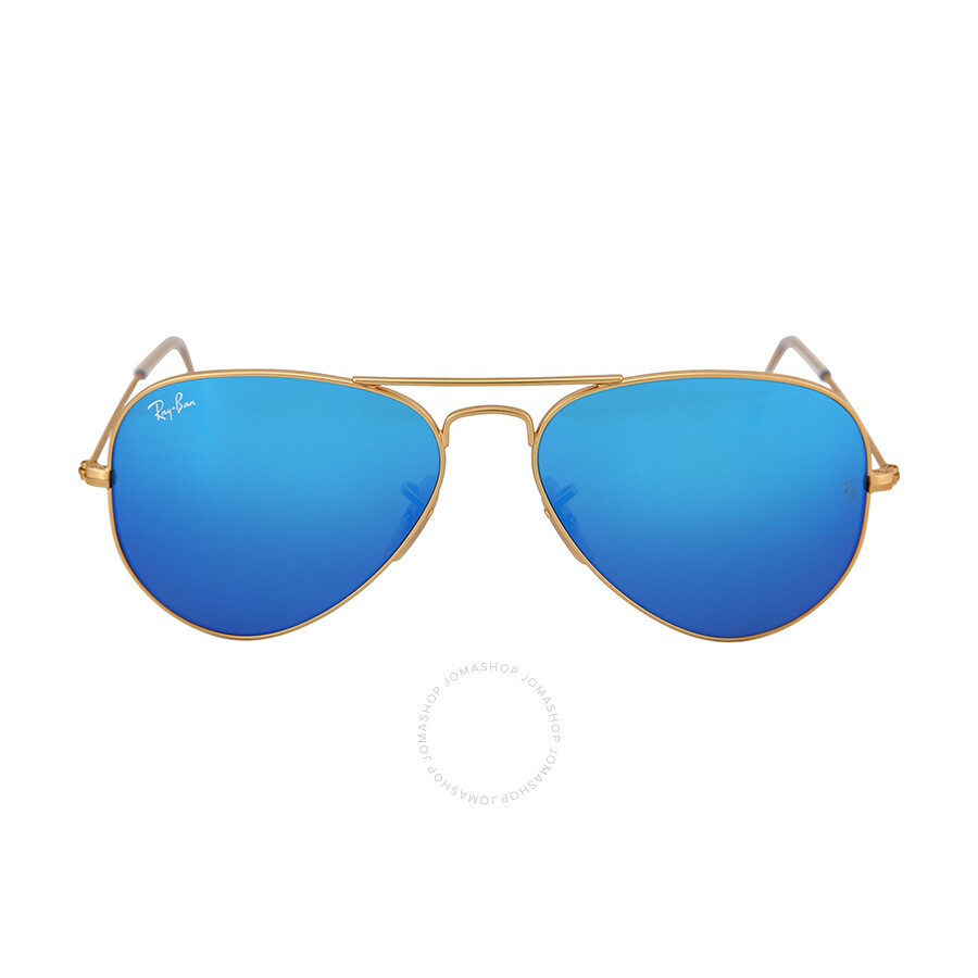 Ray-Ban Aviator Gold Metal Frame Blue Mirror Crystal Lens 55mm Men\'s ...