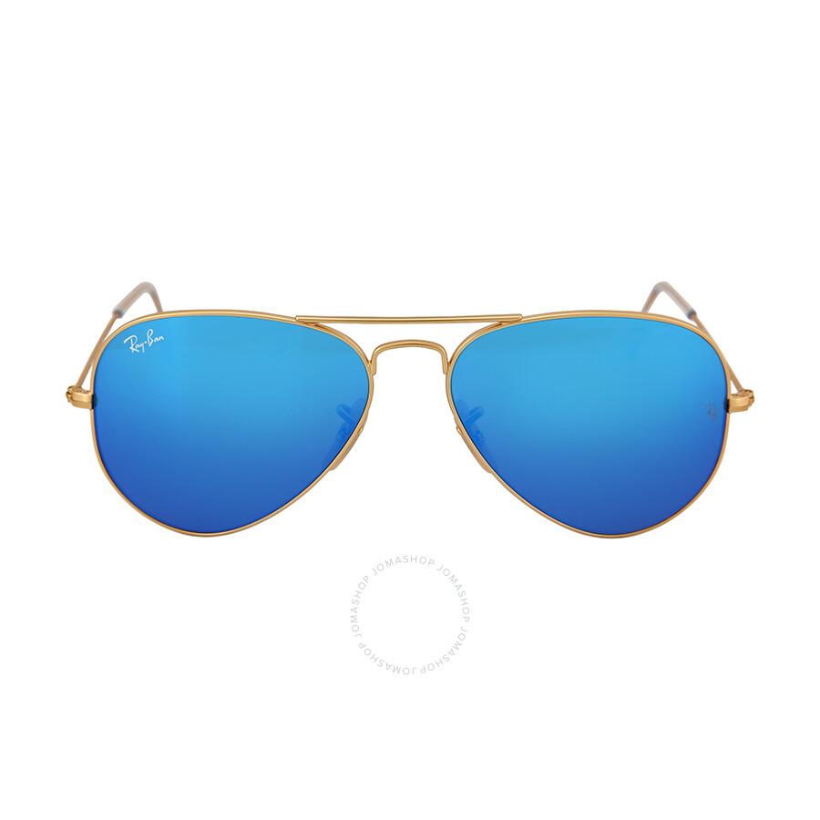 d3eb2cd144c193 Ray-Ban Aviator Gold Metal Frame Blue Mirror Crystal Lens 55mm Mens  Sunglasses RB3025 112