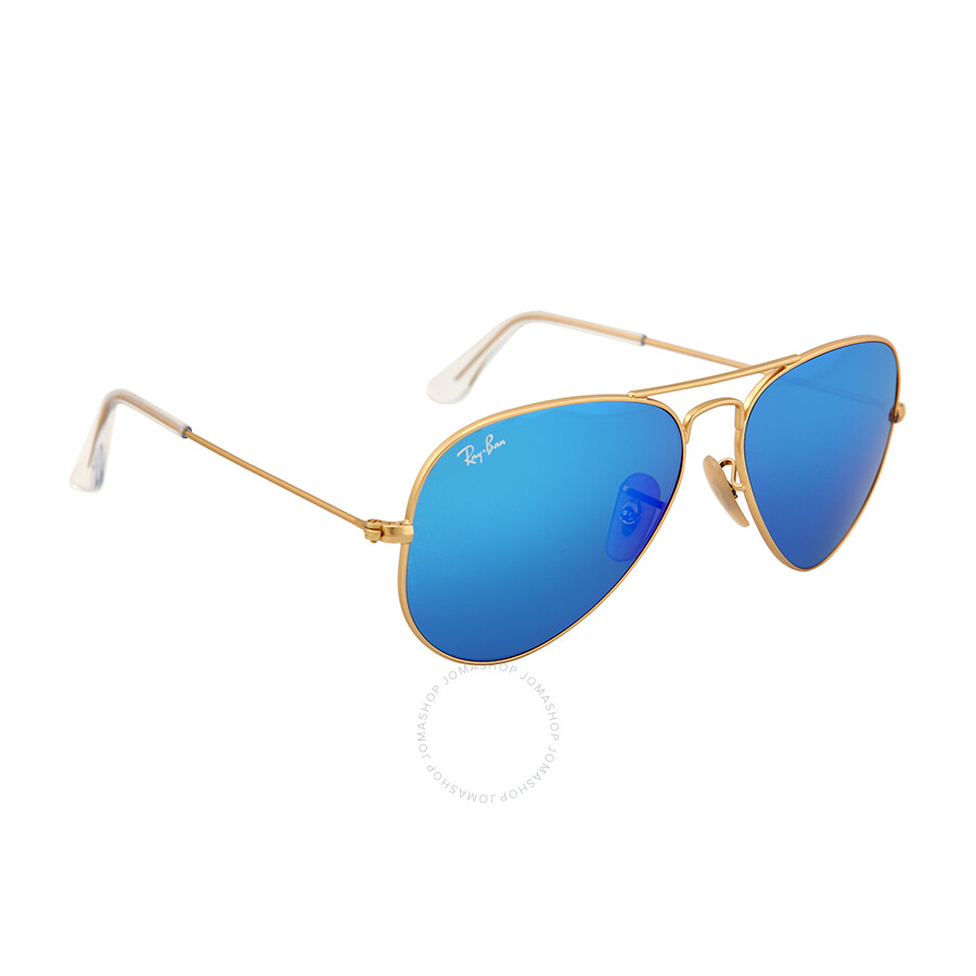 Ray Ban Aviator Gold Metal Frame Blue Mirror Crystal Lens