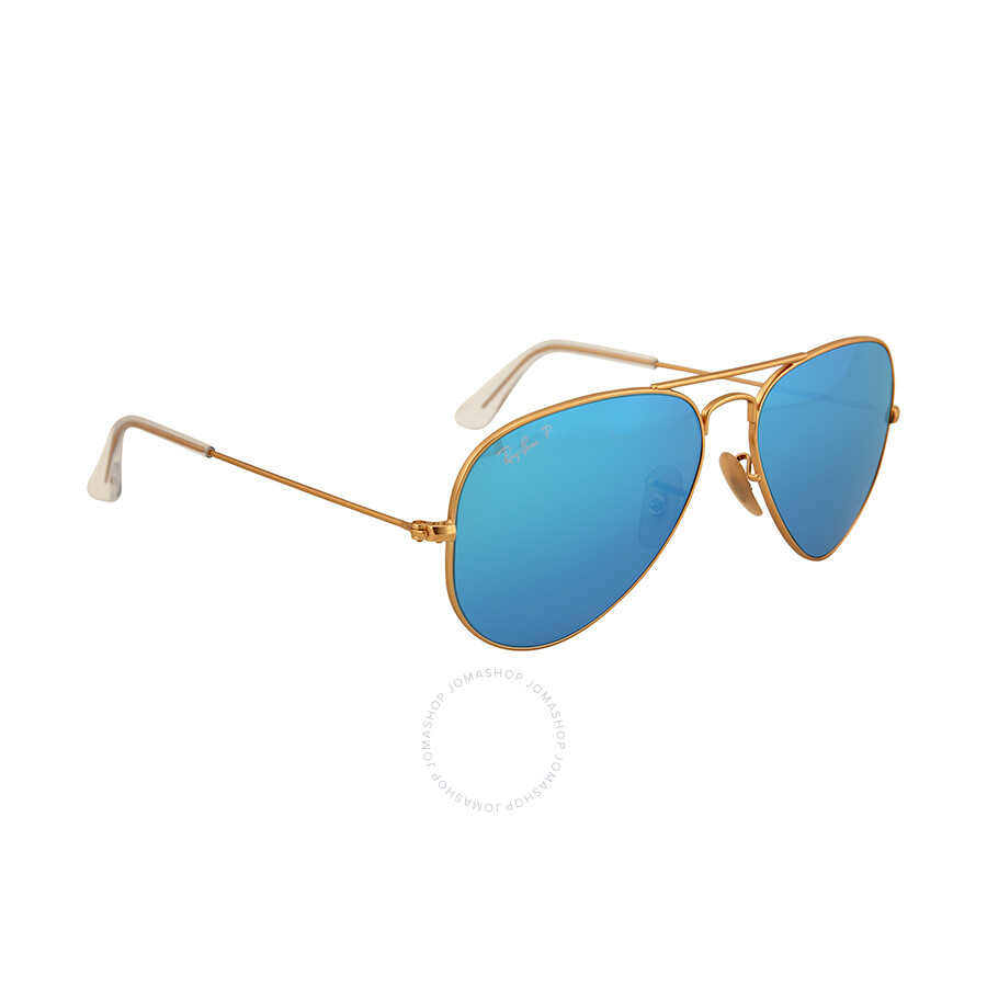 Ray-Ban Aviator Gold Metal Frame Blue Mirror Polarized Crystal Lens ...