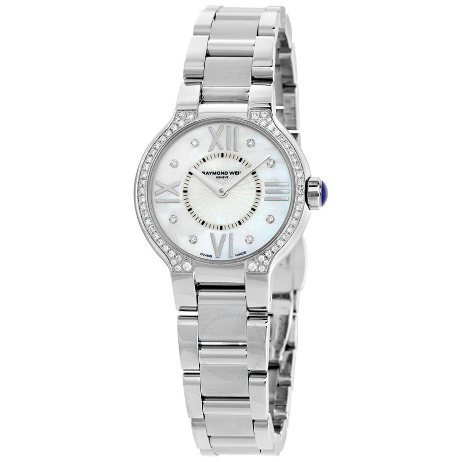 Raymond weil noemia mother of pearl diamond studded dial ladies watch 5927 sts 00995 noemia for Woman diamond watches