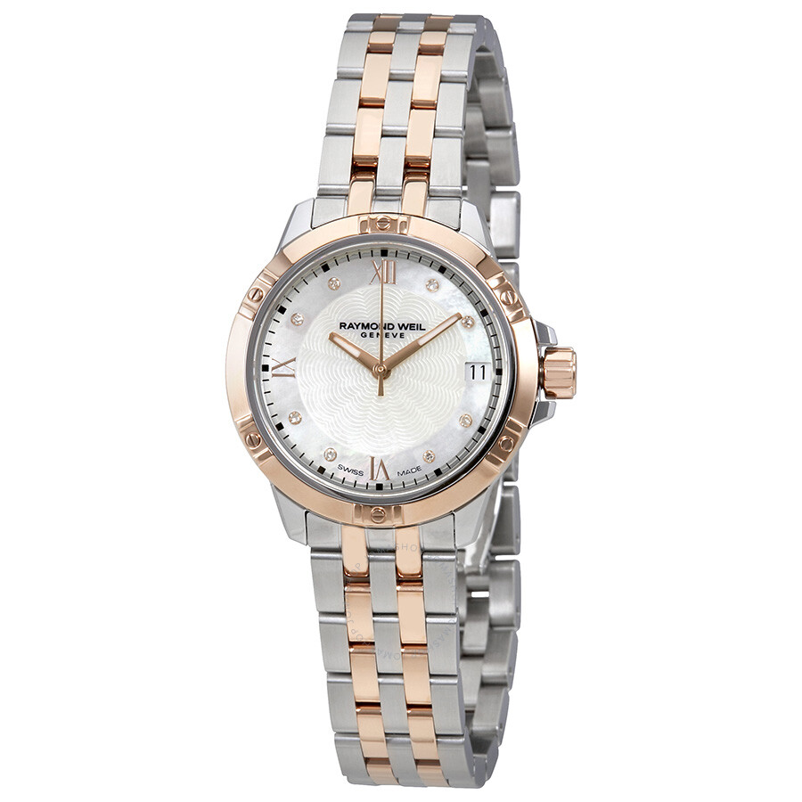 Raymond Weil Tango White Mother Of Pearl Dial Ladies Two Tone Watch 5960-SP5..