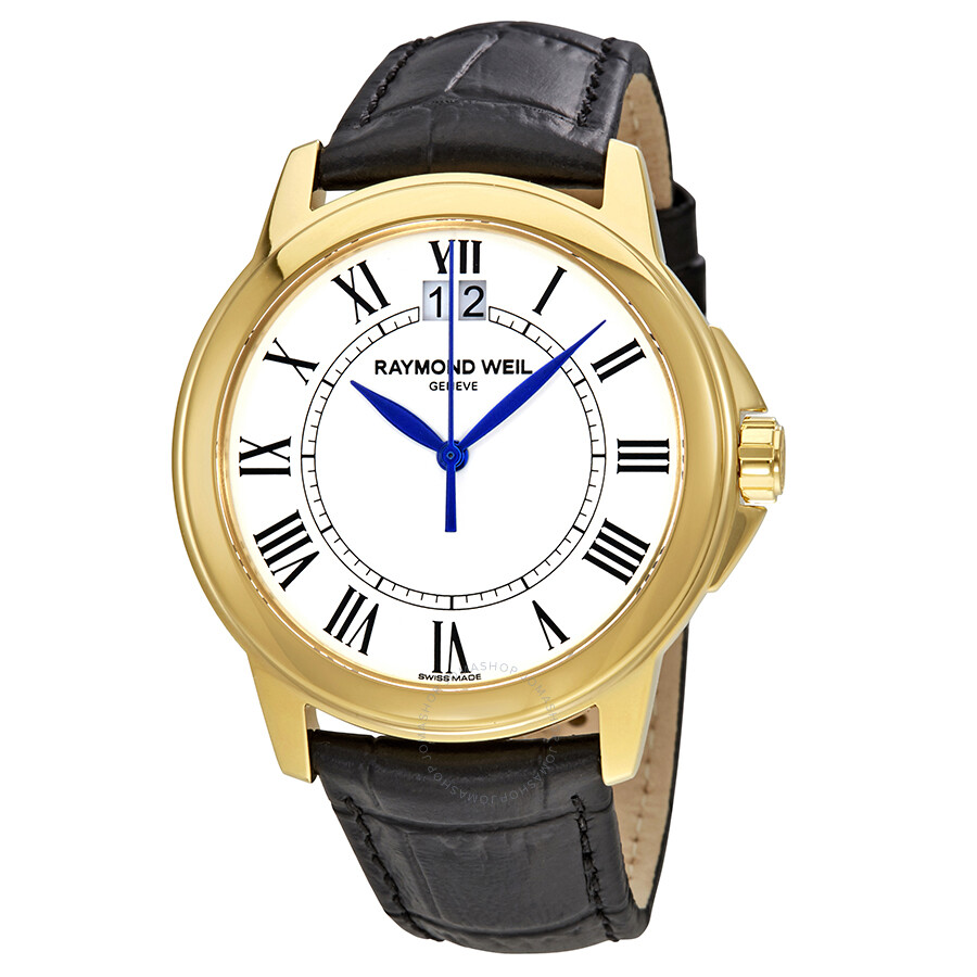 Raymond Weil Tradition White Dial Black Leather Mens Watch 5476-P-00300