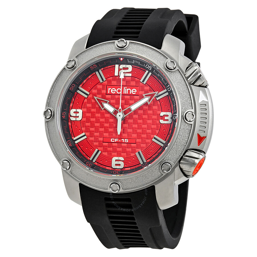 redline red dial black rubber men s watch rl 310 05 red line