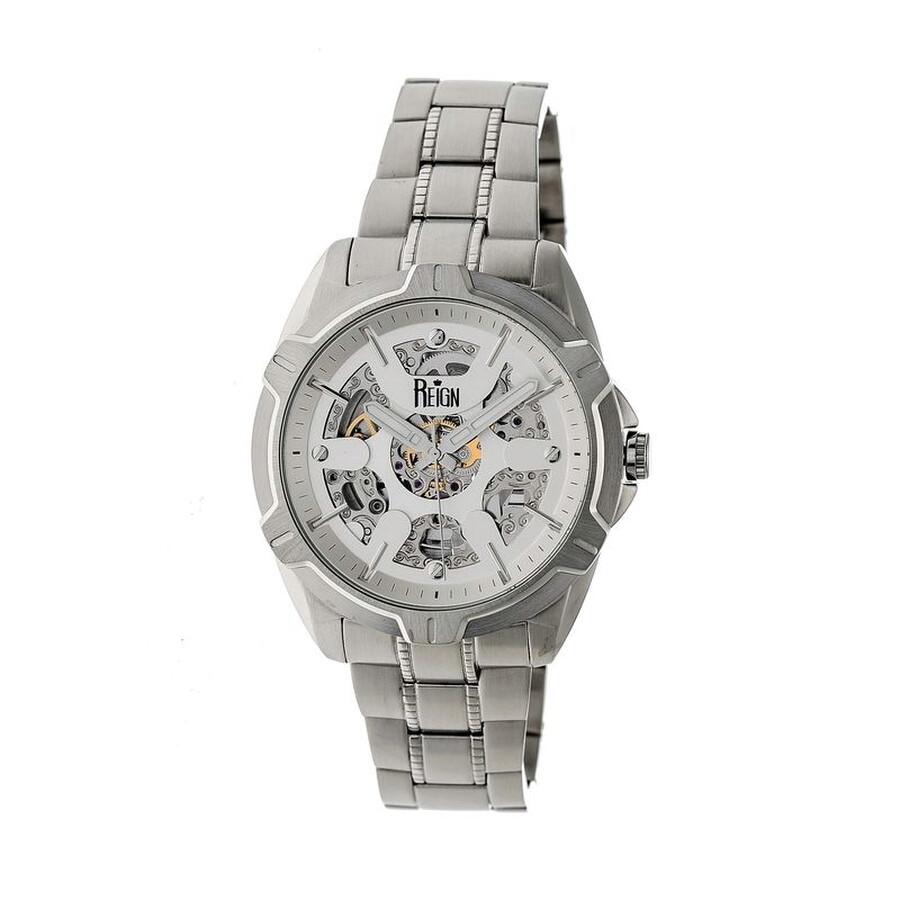 Reign Carlisle Silver Skeleton Dial Silver-tone Bracelet Mens Watch RN4201