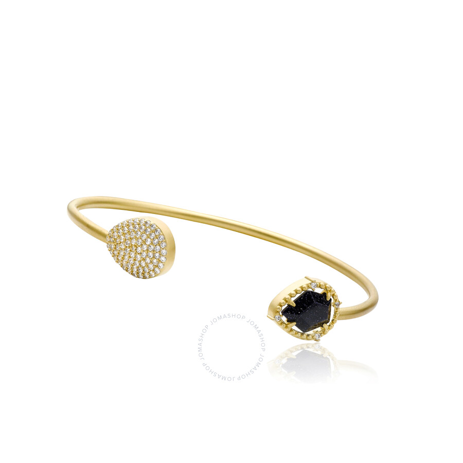 Riccova Sand Stone Satin 14k Gold Plated Snake Bangle Accented With Blue San..