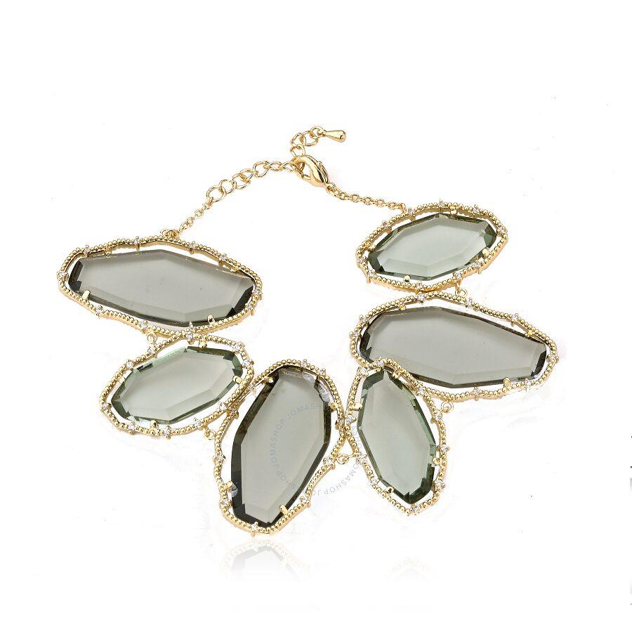 Riccova Sliced Glass 14k Gold Plated Cz Around Large Black Sliced Glass Stone Bracelet