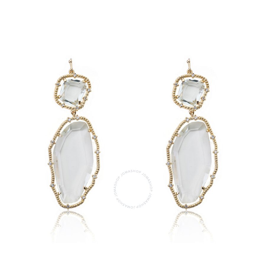 Riccova Sliced Glass 14K Gold Plated Clear Sliced Stones Long Dangle Earring
