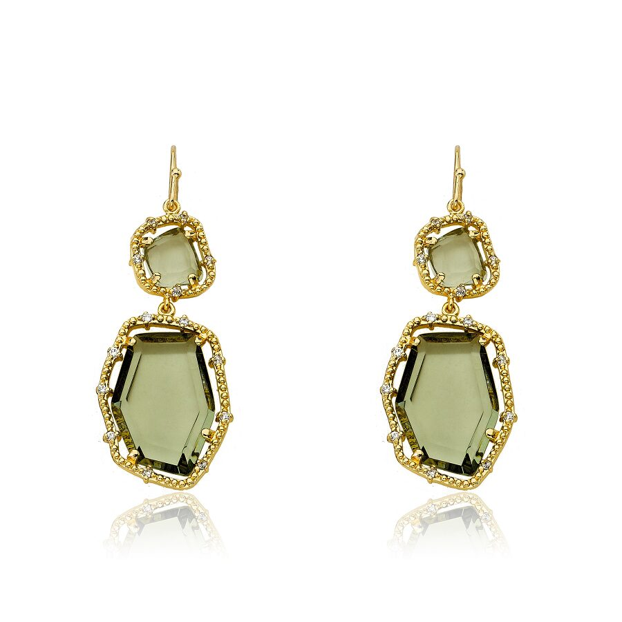 Riccova Sliced Glass 14K Gold Plated 2 Black Diamond Sliced Stones Dangle Earring