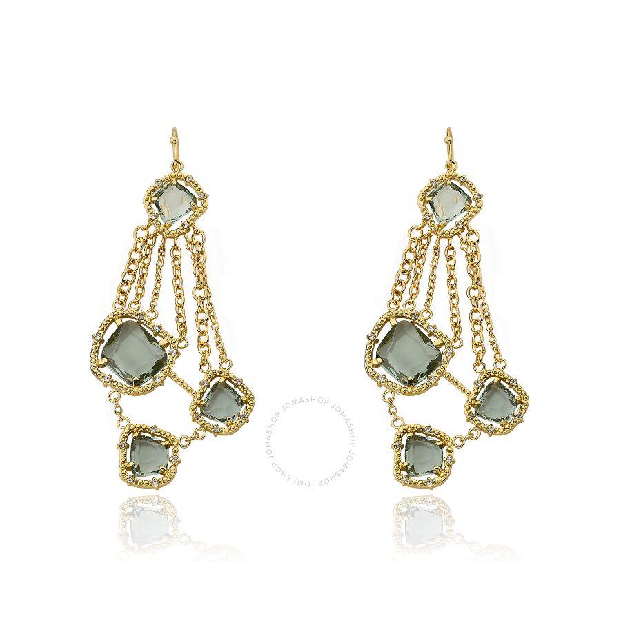 Riccova Sliced Glass 14K Gold Plated Black Sliced Glass On Chains Chandelier Dangle Earring