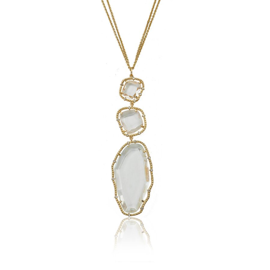 Riccova Sliced Glass 14K Gold Plated Clear Glass Sliced Stone Pendant Double Strand Chain Necklace