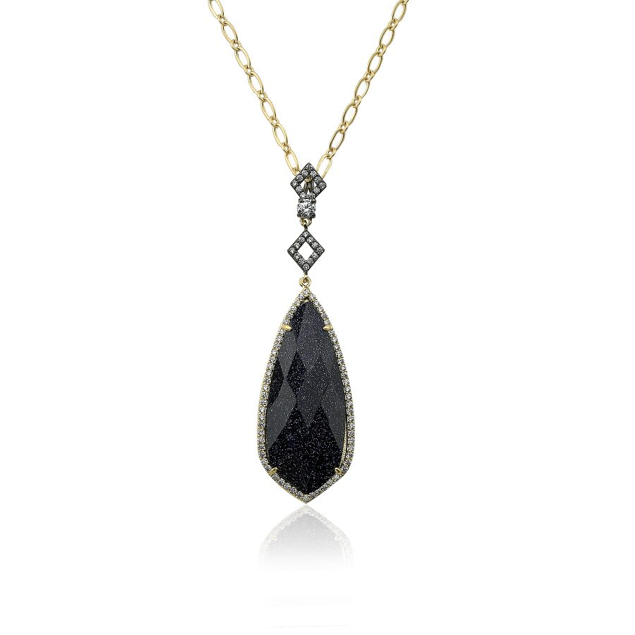 Riccova Sand Stone 14k Gold Plated Cz Detailed Blue Sand Stone Teardrop Pendant Chain Necklace