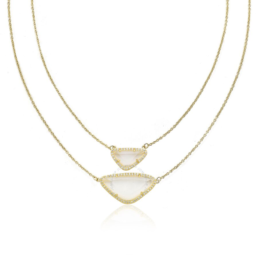 Riccova Sand Stone 14k Gold Plated Cz Detailed Clear Sand Stone Necklace