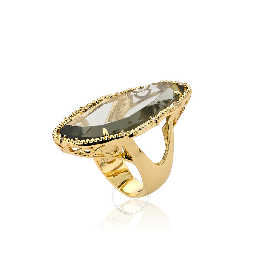 Riccova Sliced Glass 14k Gold Plated Cz Around Black Sliced Glass Large Ring