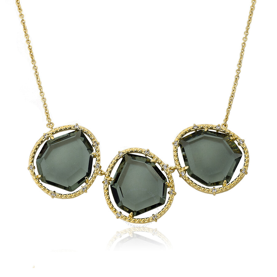 Riccova  14K Gold Plated Triple Black Sliced Glass Center Chain Necklace/ Br..