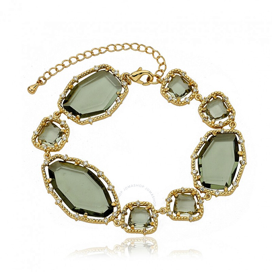 Riccova 14K Gold-Plated Brass Diamond Glass Sliced Stone Bracelet