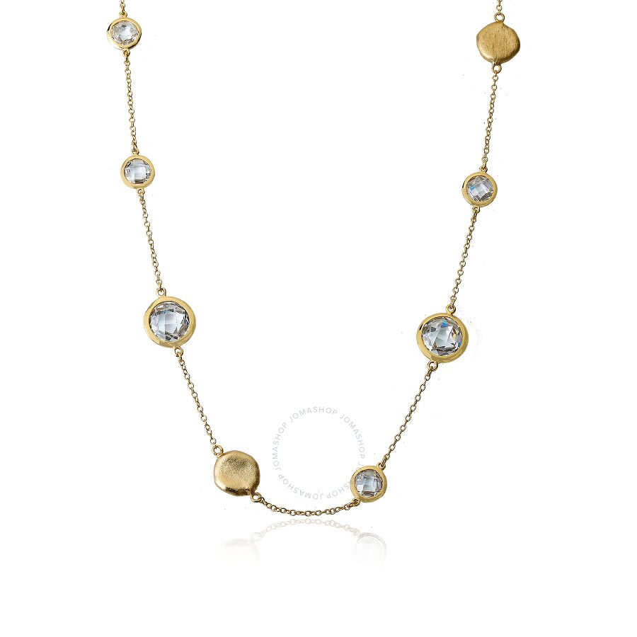 """Riccova Arctic Mist 14K Gold Plated Brushed Circle Nuggets & Clear Cubic Zirconia's On 36"""" Chain Nec"""
