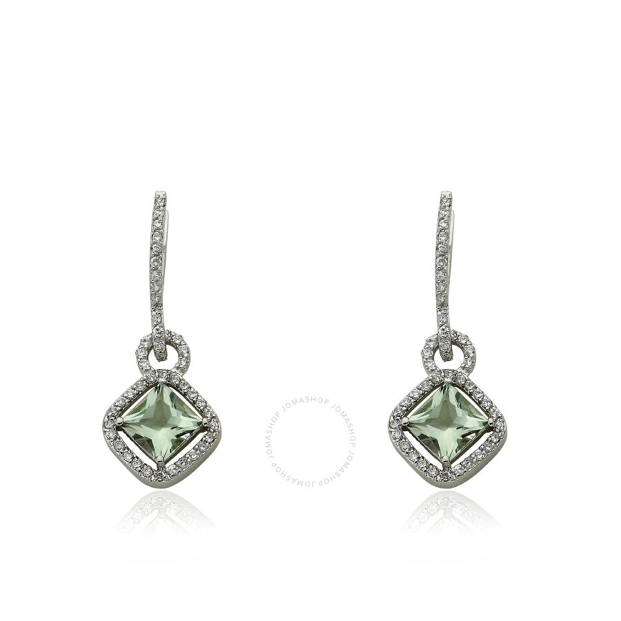 Riccova Arctic Mist by Riccova Cubic Zirconia Small Hoop Diamond Shape Green Amethyst Charm Dangle