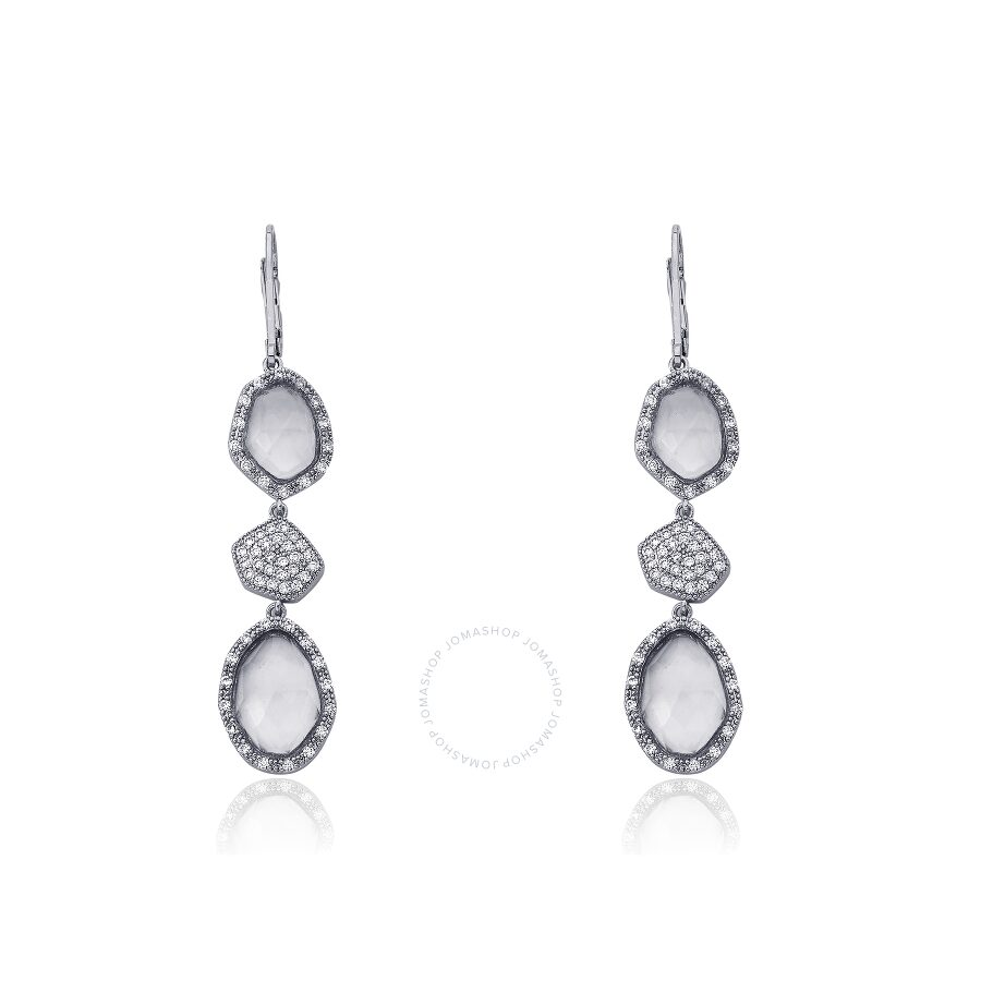 Riccova City Light Rhodium Plated CZ & Faceted Glass Dangle Leverback Earring