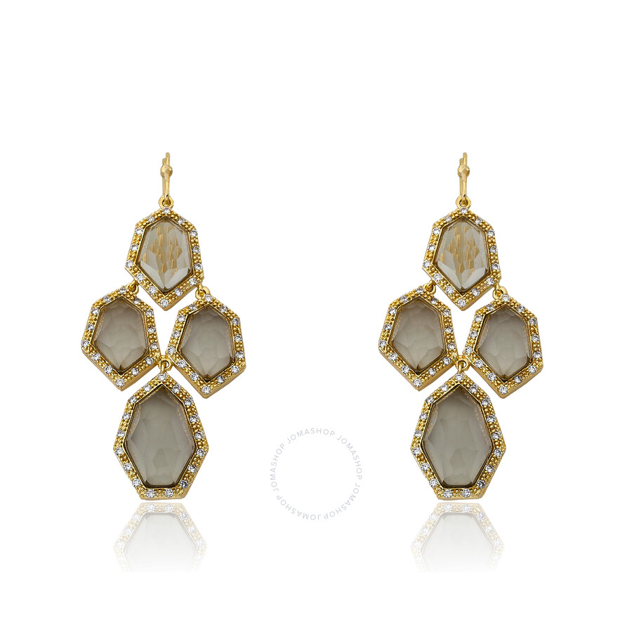 Riccova City Lights 14K Gold Plated Cubic Zirconia & Faceted Black Glass Chandelier Earring/ Brass