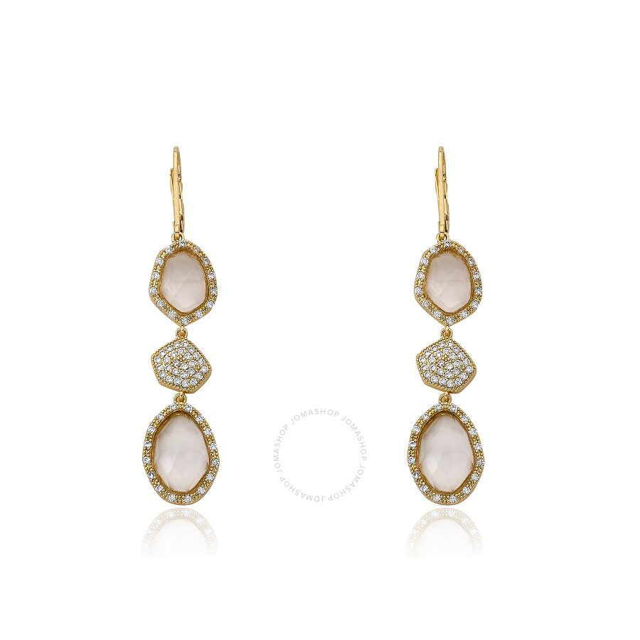 Riccova City Lights  14k Gold Plated CZ & Faceted Glass Dangle Leverback Earring