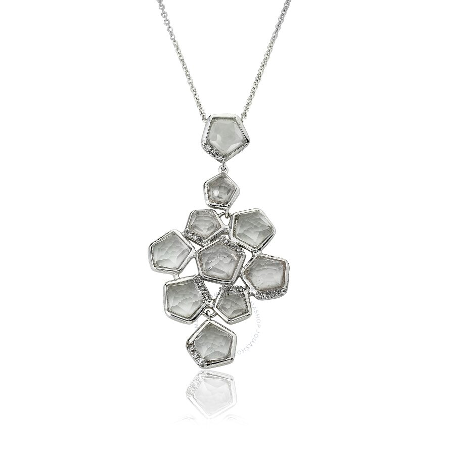 Riccova City Lights Rhodium Plated Cubic Zirconia Accented Clear Faceted Stones Cluster Pendant Neck