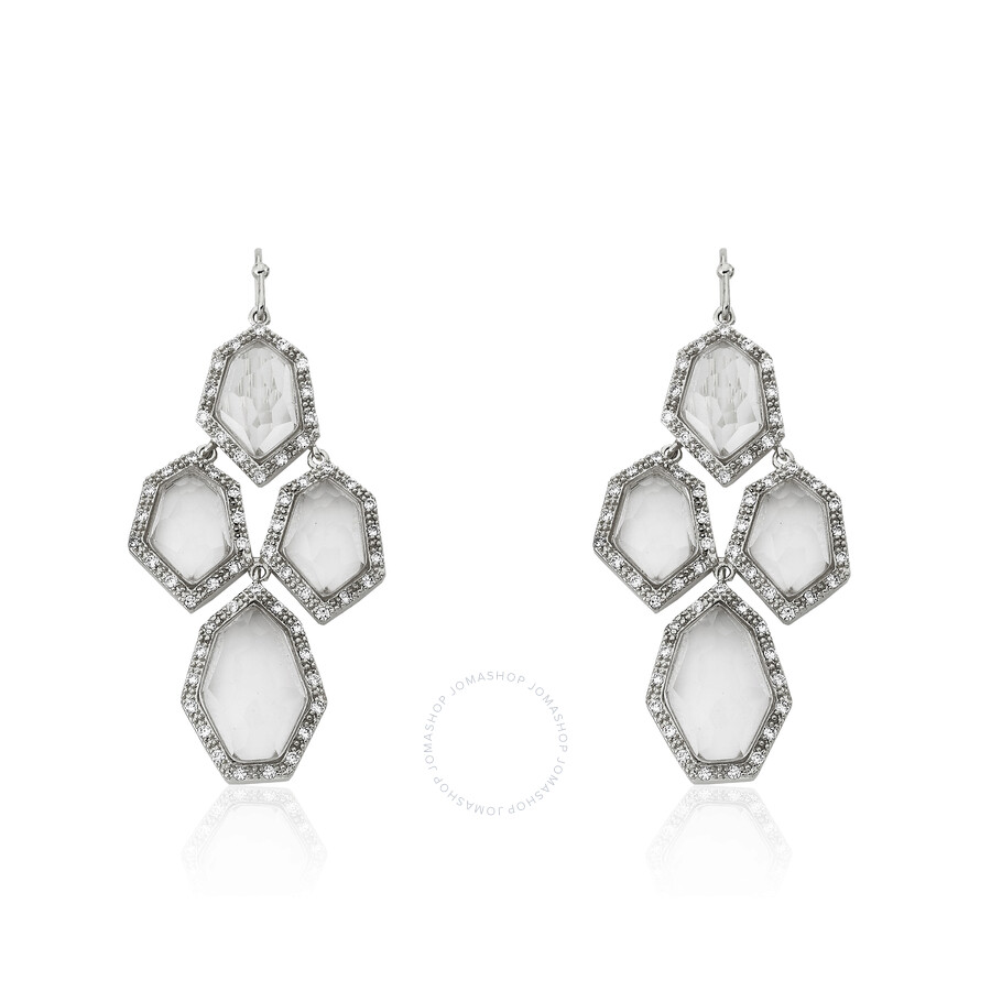 Riccova City Lights Rhodium Plated Cubic Zirconia & Faceted Glass Chandelier Earring/ Brass