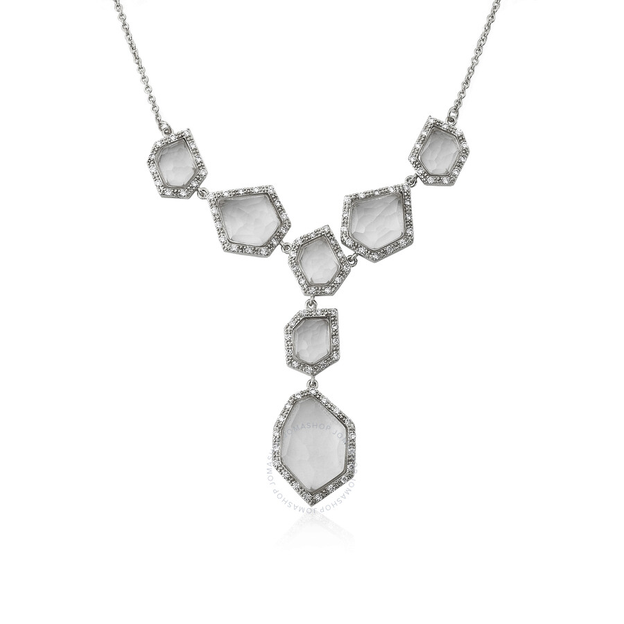 Riccova City Lights Rhodium Plated Cubic Zirconia & Faceted Glass Dangle Center Chain Necklace/ Bras