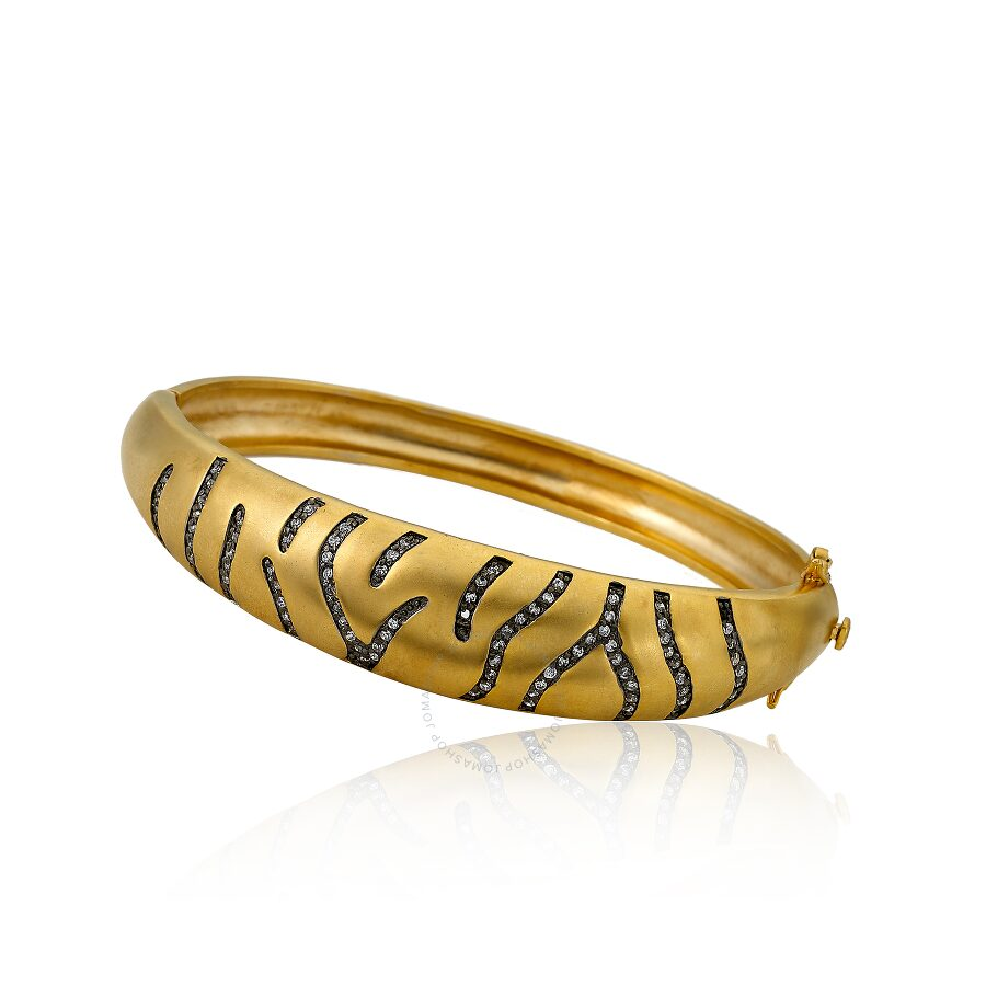 Riccova Cosmopolitan Satin 14K Gold Plated Bangle With Cubic Zirconia with Black Rhodium Details